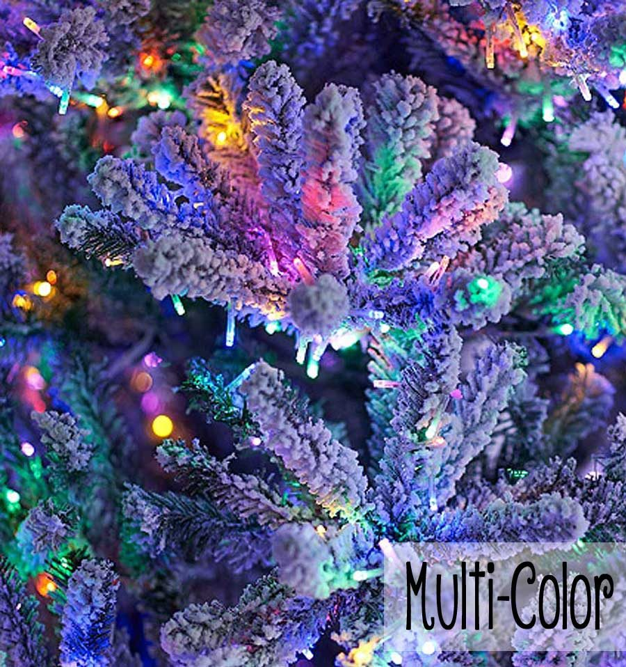Santa's Best Flocked Fir Tree - Multi-Color Micro-LEDLights