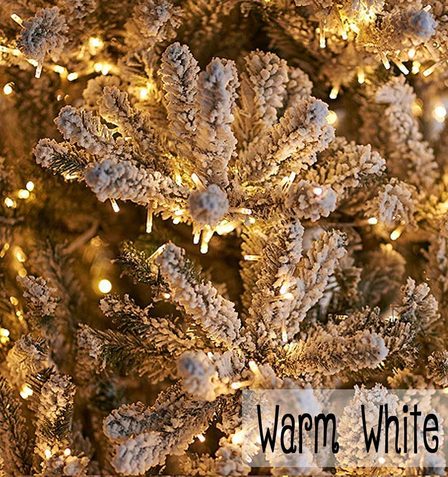 Santa's Best Flocked Fir Tree - Warm White Micro-LEDLights
