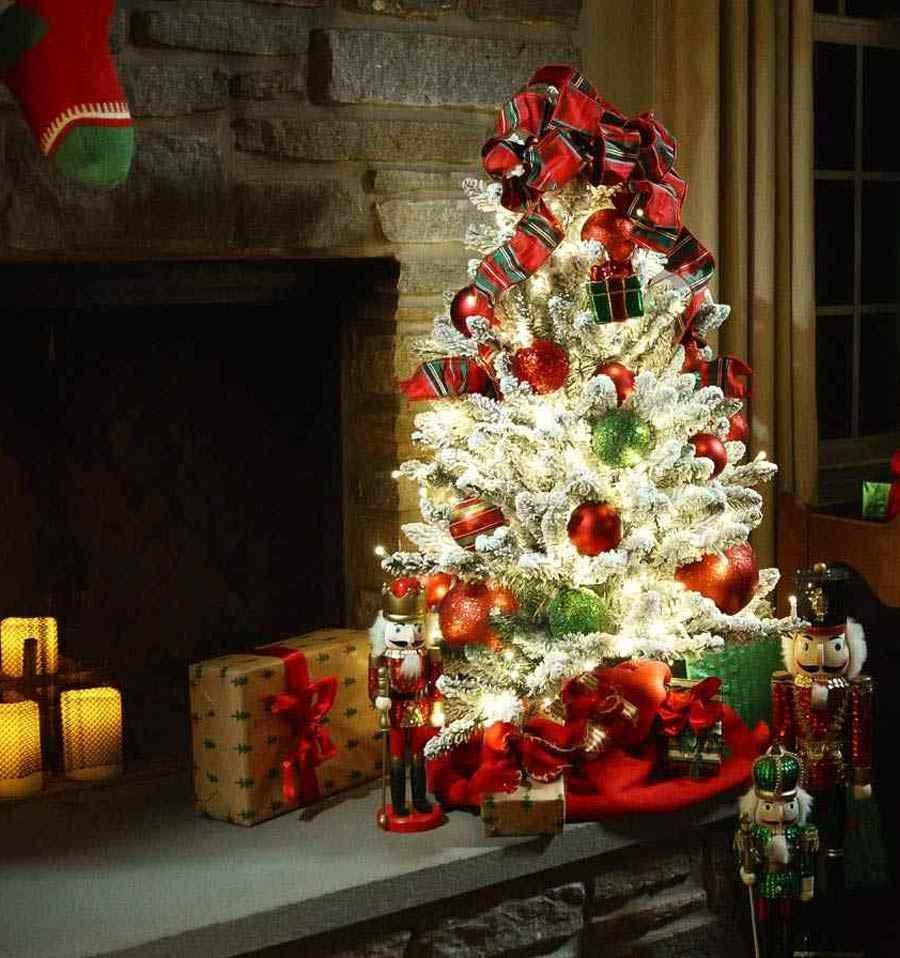 Santa's Best Flocked Fir Pre-Lit LED Christmas Tree