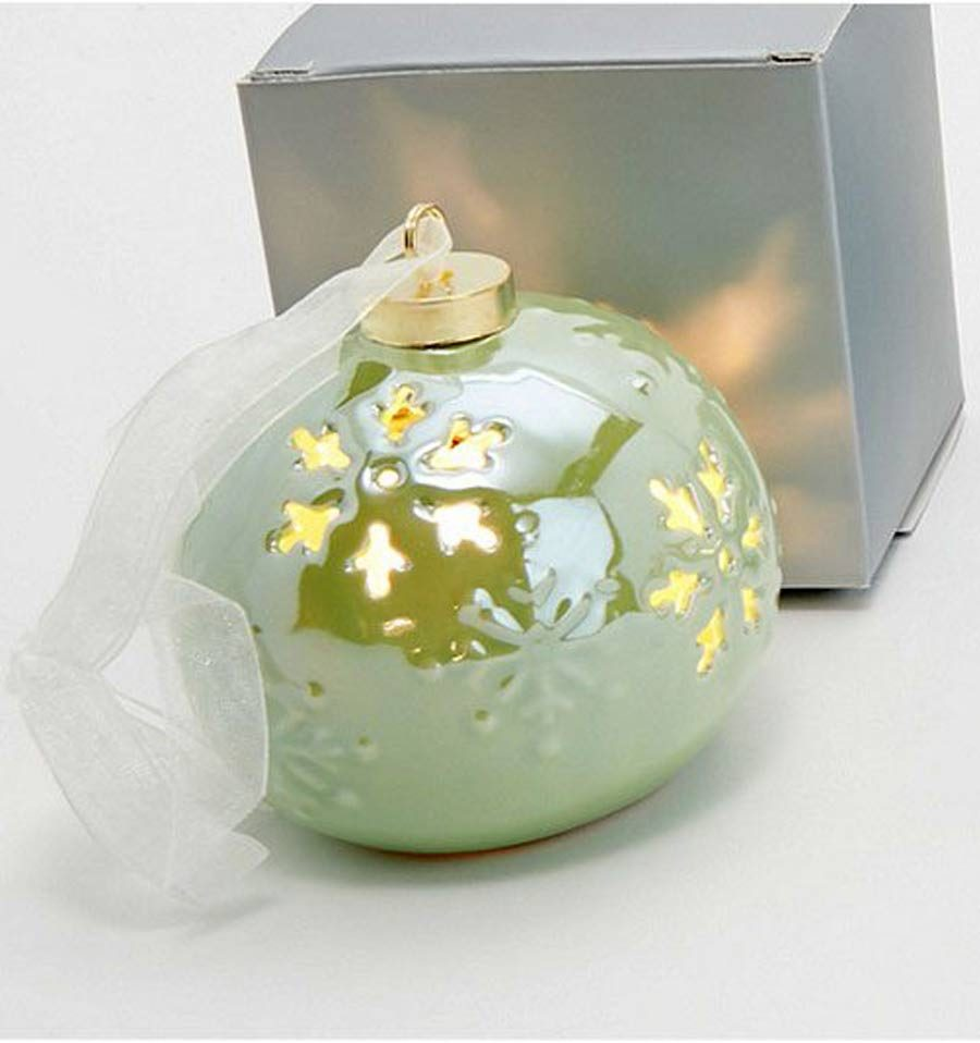 Santa's Best Iridescent Porcelain Ornament Set